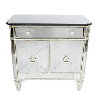 Mirrored Chest with Black Top