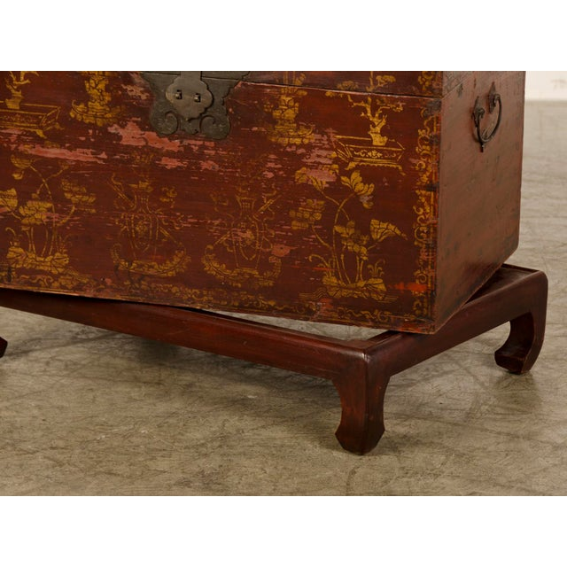 Red Lacquer Antique Chinese Trunk Kuang Hsu Period circa 1875 - Image 8 of 11