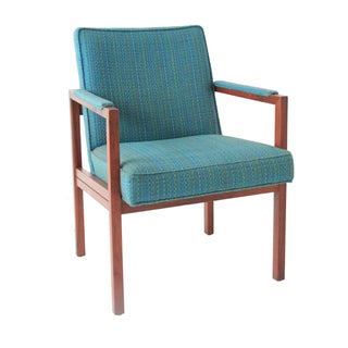 Vintage Mid-Century Modern Upholstered Turquoise Side Chair
