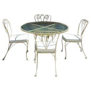 Iron Table & Chair Set - Five Pieces