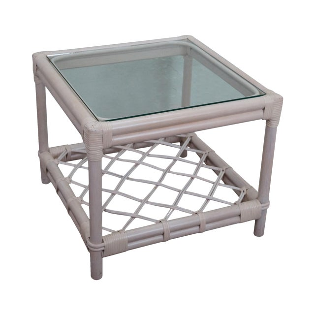 Ficks Reed Painted Rattan Glass Top End Table - Image 1 of 11