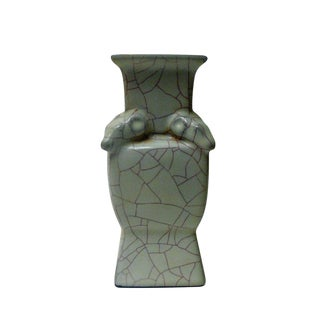 Chinese Crackle Ram Ceramic Vase