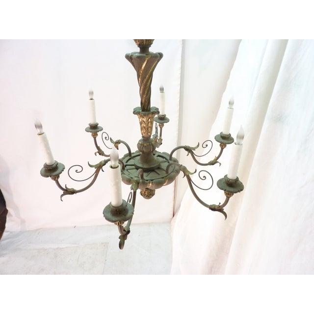 Italian Painted Iron & Wood Chandelier - Image 6 of 8