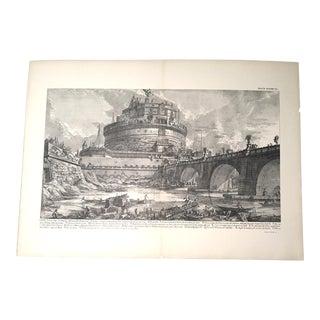 """Antique Architectural Lithograph After Piranesi, """"Veduta Del Ponte, E Del Mausoleo"""""""