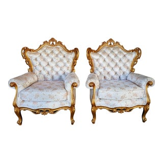 Vintage Hollywood Regency Ivory & Gold Chairs- A Pair