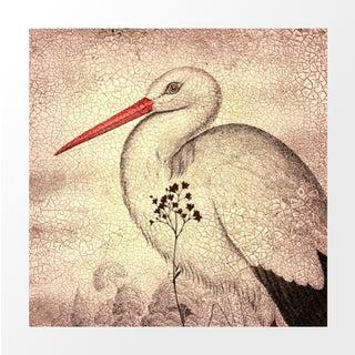 Vintage Crackled Stork Archival Print