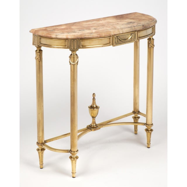 Image of Neoclassic Marble-Top Brass Demilune Console Table
