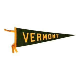 Vintage University of Vermont Felt Pennant With Sewn Letter
