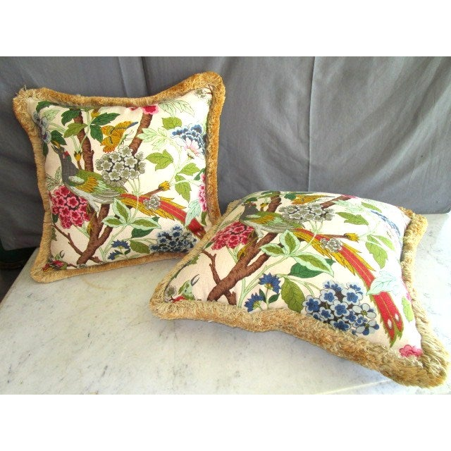 Image of Tropical Fringe Accent Pillows - Pair