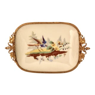 French Limoges Porcelain & Bronze Tray