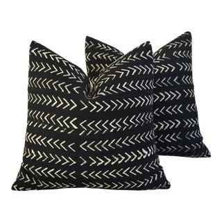 Boho-Chic Mali Mud Cloth Tribal Design Pattern Pillows - A Pair