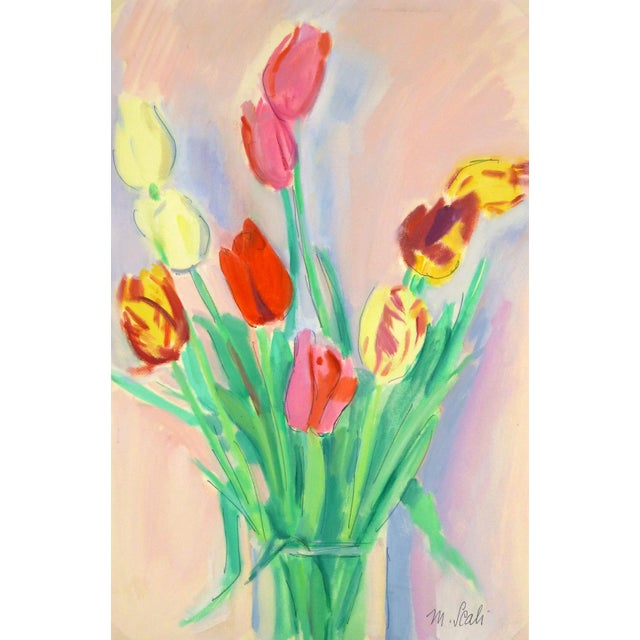 French Watercolor Painting - Tulip, C. 1960 - Image 4 of 4