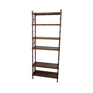 Vintage Faux Bamboo Regency Style Etagere Open Bookcase