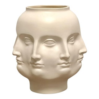 Perpetual Face Dora Maar Style White Ceramic Urn