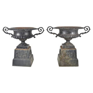Pair of Vintage Cast Iron Urns