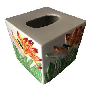Tropical Bird of Paradise Ceramic Tissue Holder