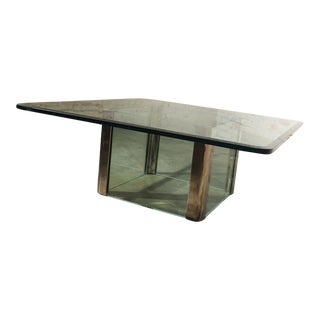 Pace Collection Chrome & Glass Square Coffee Table