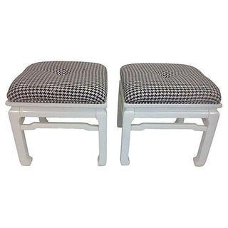 Asian Style Black & White Stools - A Pair
