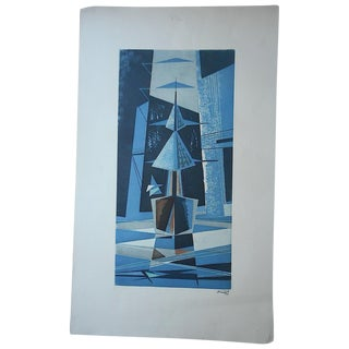 Large Vintage Signed Etching of Cubist Sailboats