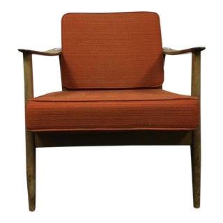 Mid-Century Modern Walnut Upholstered Armchair