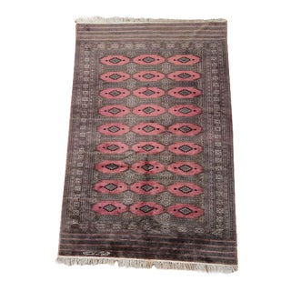 "Vintage Persian Bokhara Pink Area Rug - 4' 1""x6' 4"""