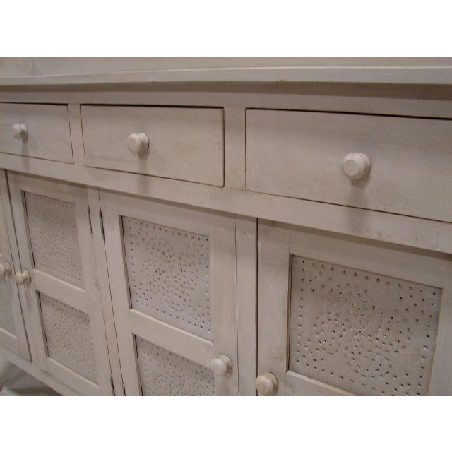 Gray Paint Vintage Style Hutch Server Pie Cabinet - Image 4 of 4