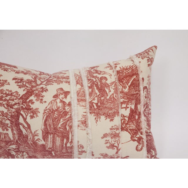 Red & Cream Deconstructed Toile Pillows - A Pair - Image 8 of 8