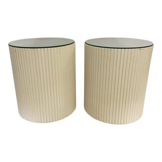 Mirrored Barrel Cylinder Drum Side Tables - A Pair