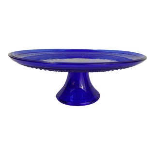 Anchor Hocking Cobalt Blue Cake Plate