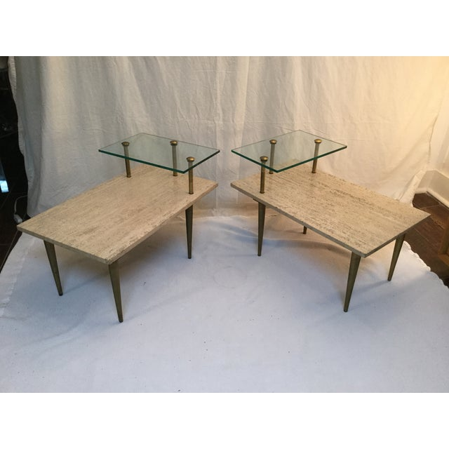 1950's Two Tear Travertine Side Tables - Pair - Image 2 of 11