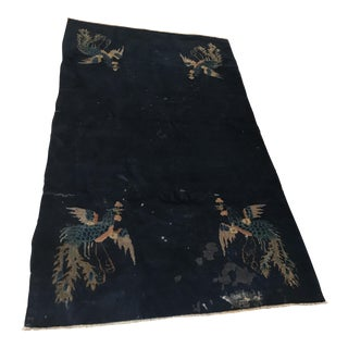 Blue Chinese Art Deco Rug - 3′11″ × 6′4″