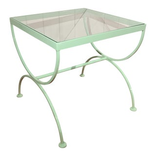 Mint Green Iron & Glass Accent Table