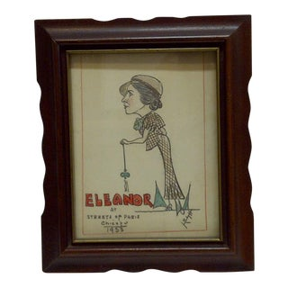 1933 Eleanor at the Streets of Paris Chicago Worlds Fair Sketch