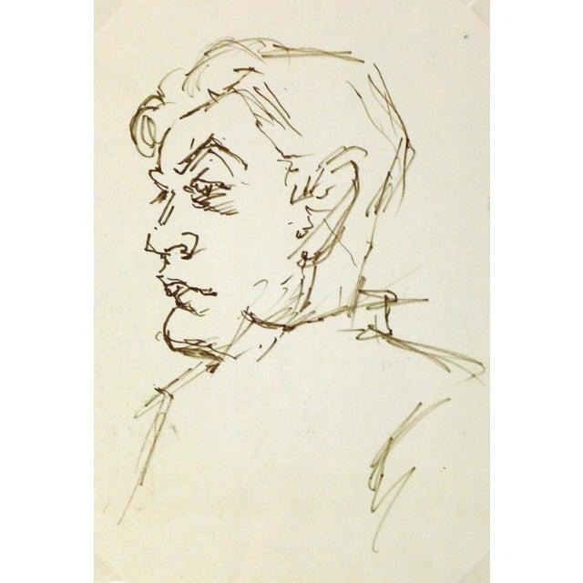 Vintage Man in Profile Ink Drawing, C. 1950 - Image 1 of 3