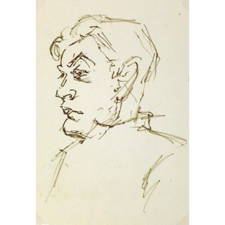 Vintage Man in Profile Ink Drawing, C. 1950