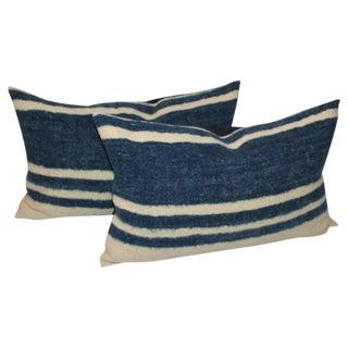 Set of Four Indigo and White Striped Alpaca Bolster Pillows