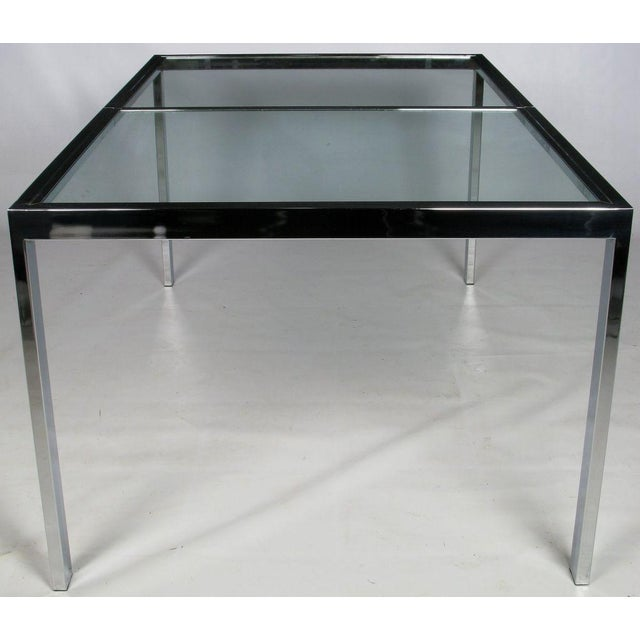 Image of Chromed Steel Parsons Style Dining Table By Milo Baughman