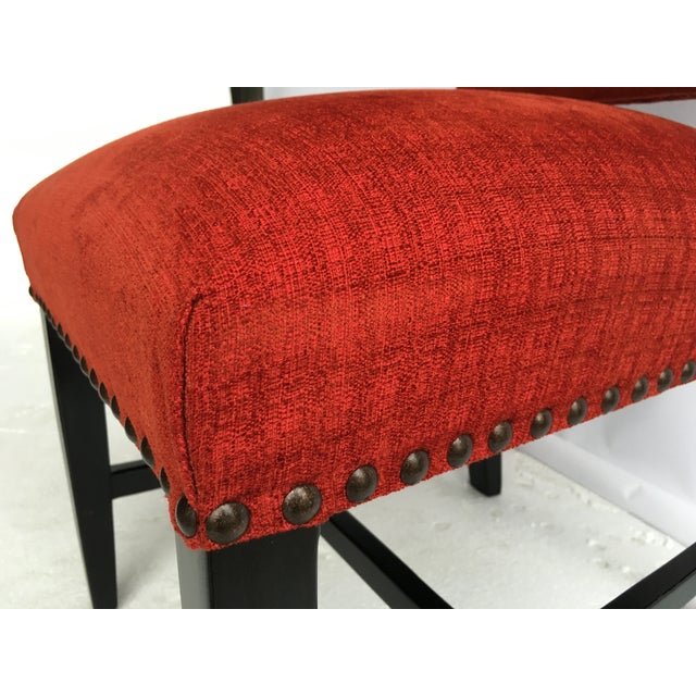 Transitional Red Chenille Dining Chairs - Set of 4 - Image 3 of 11