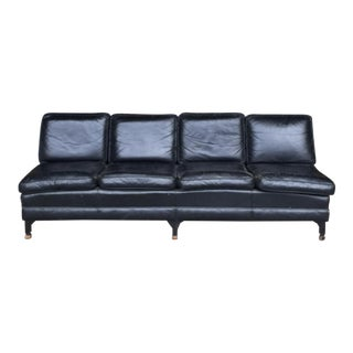1950's Mid-Century Black Leather Sofa