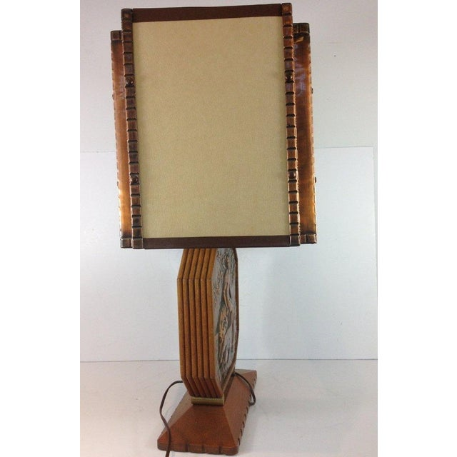 Art Deco Wood & Copper Male Shepherd Lamp - Image 3 of 4