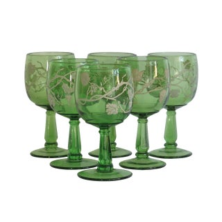 Green Grecian Style Cordial Glasses - Set of 6