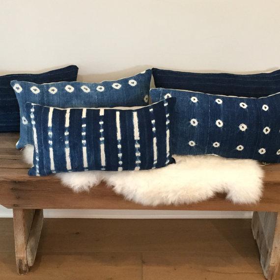 Vintage African Textile Indigo Lumbar Pillow - Image 5 of 5