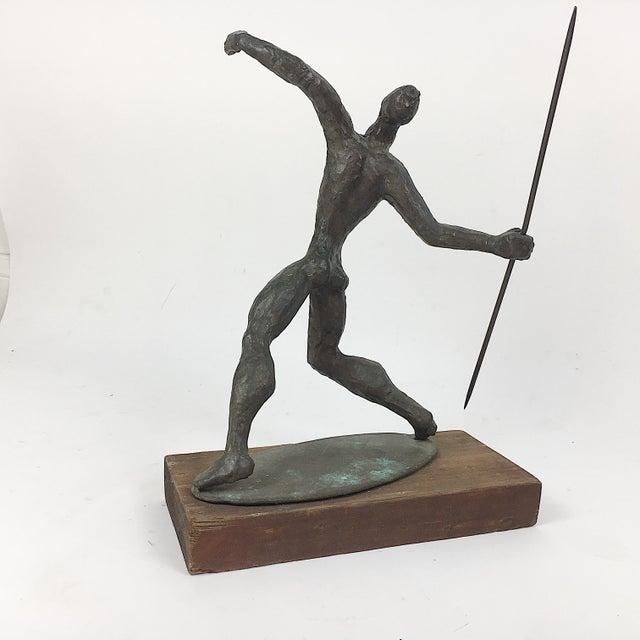 Vintage Twila Albers Bronze Figure Throwing Spear - Image 3 of 8
