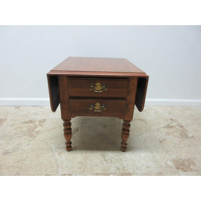 Ethan Allen Heirloom Formica Top Drop Leaf Nutmeg End Table - Image 2 of 11