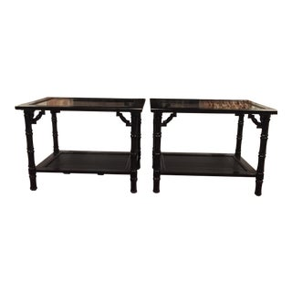 Black Faux Bamboo Sidetables - A Pair