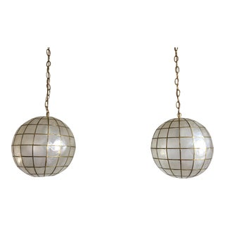 Capiz Shell Globe Pendant Lights - A Pair
