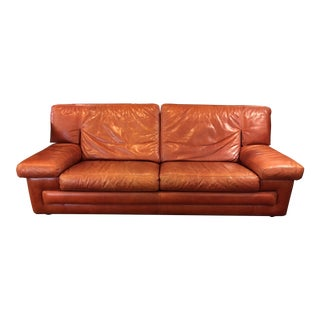 Roche Bobois Vintage Red Leather Sofa