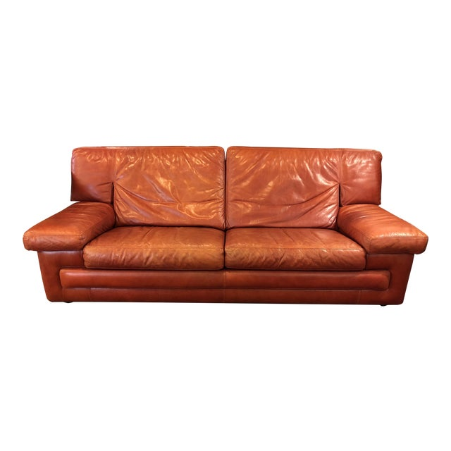 Roche Bobois Vintage Red Leather Sofa - Image 1 of 10