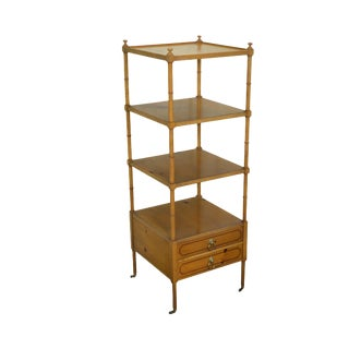 Baker Regency Style Pine Étagère Book Stand w/ Drawers