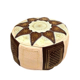 Fes Brown Leather Pouf